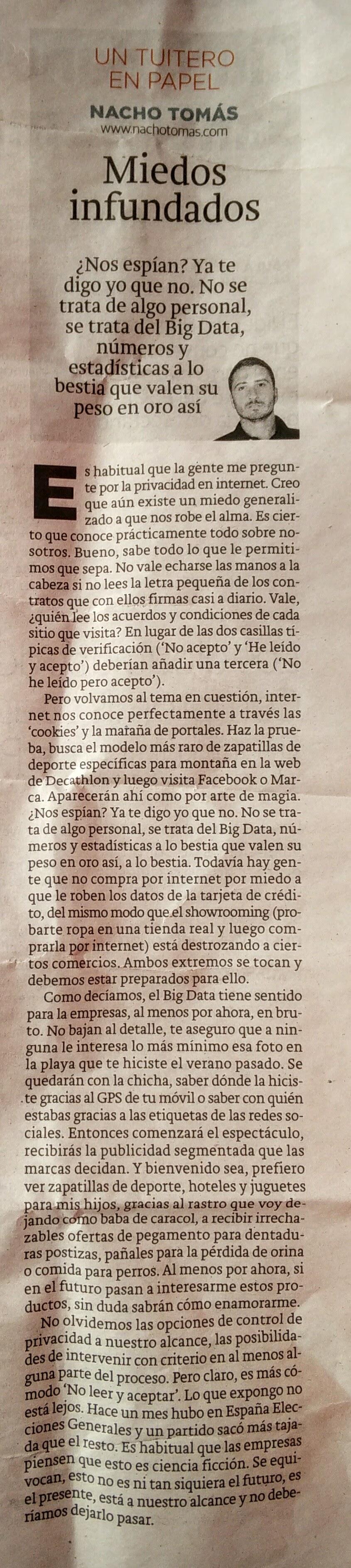 20.01.16 Miedos Infundados - Nacho Tomás - Un tuitero en papel - La Verdad de Murcia
