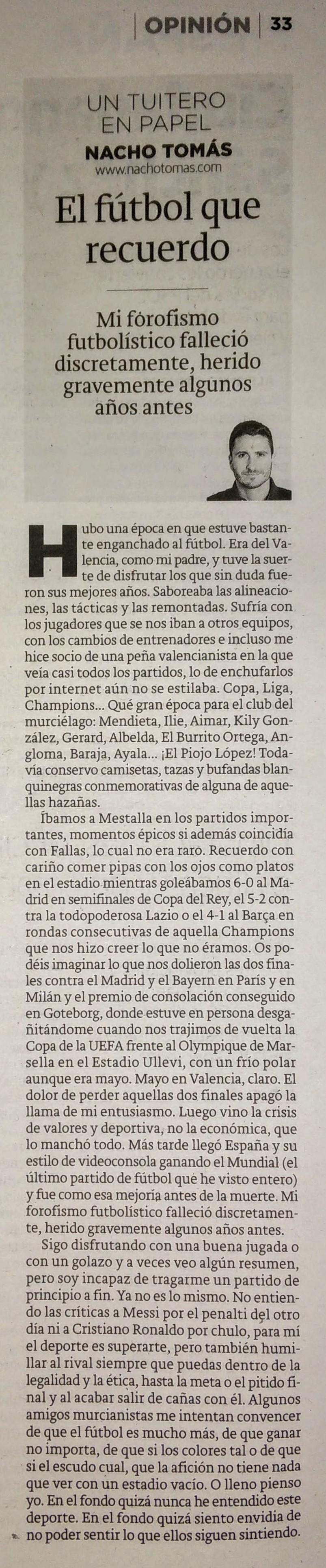 24.02.16 El fútbol que recuerdo - Nacho Tomás - Un tuitero en papel - La Verdad de Murcia