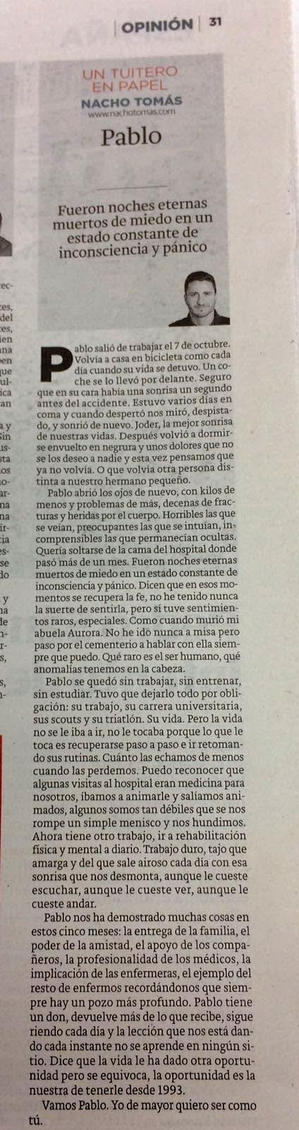 02.03.16 Pablo - Nacho Tomás - Un tuitero en papel - La Verdad de Murcia