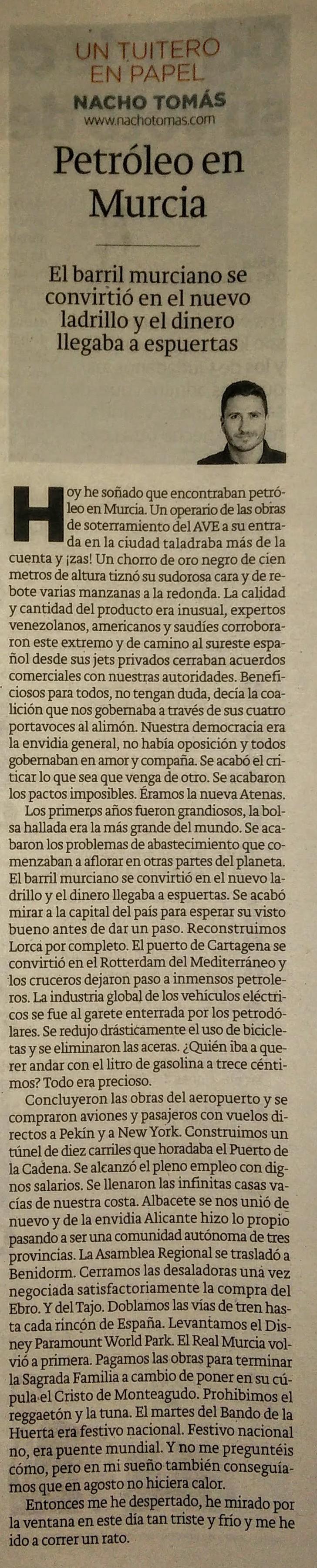 04.05.16 Petróleo en Murcia - Nacho Tomás - Un tuitero en papel - La Verdad de Murcia