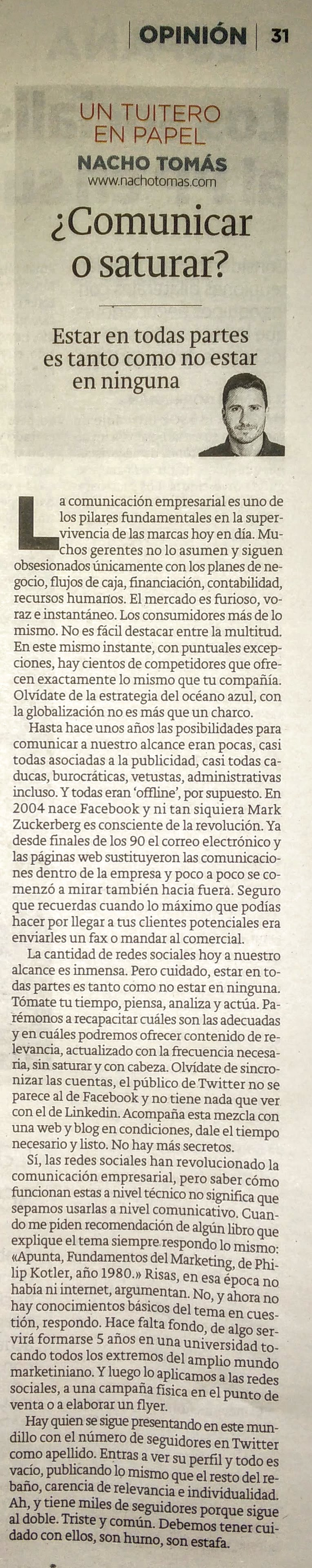 09.03.16 Comunicar o saturar - Nacho Tomás - Un tuitero en papel - La Verdad de Murcia