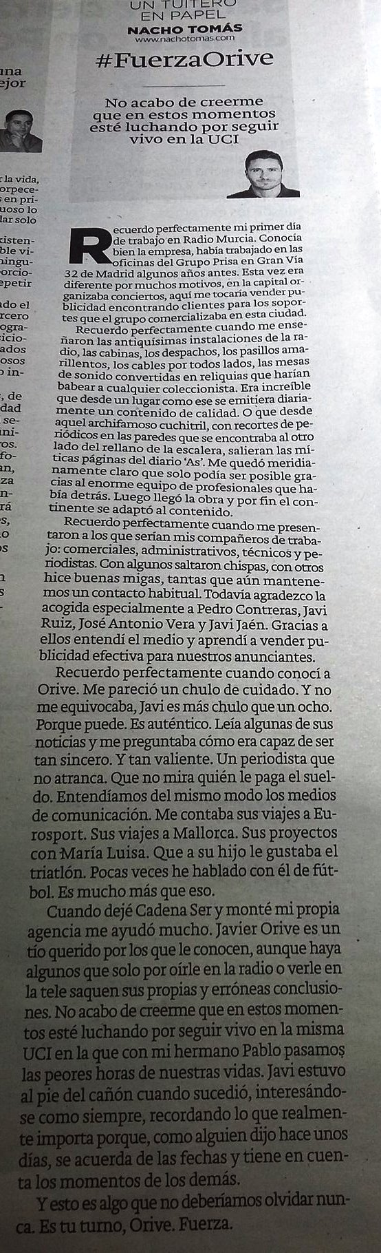 11.05.16 #FuerzaOrive - Nacho Tomás - Un tuitero en papel - La Verdad de Murcia