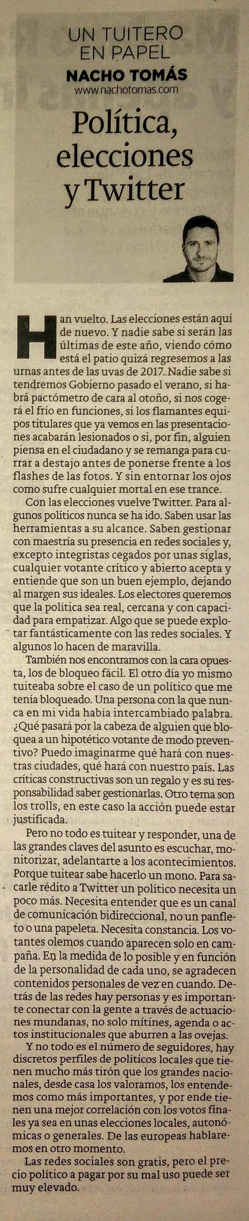 Política, elecciones y Twitter.