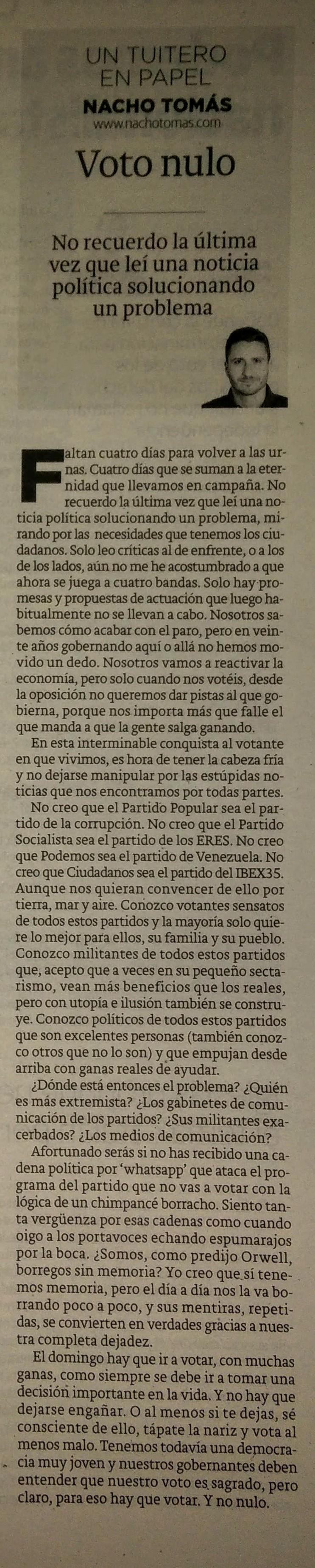 22.06.16 Voto nulo - Nacho Tomás - Un tuitero en papel - La Verdad de Murcia