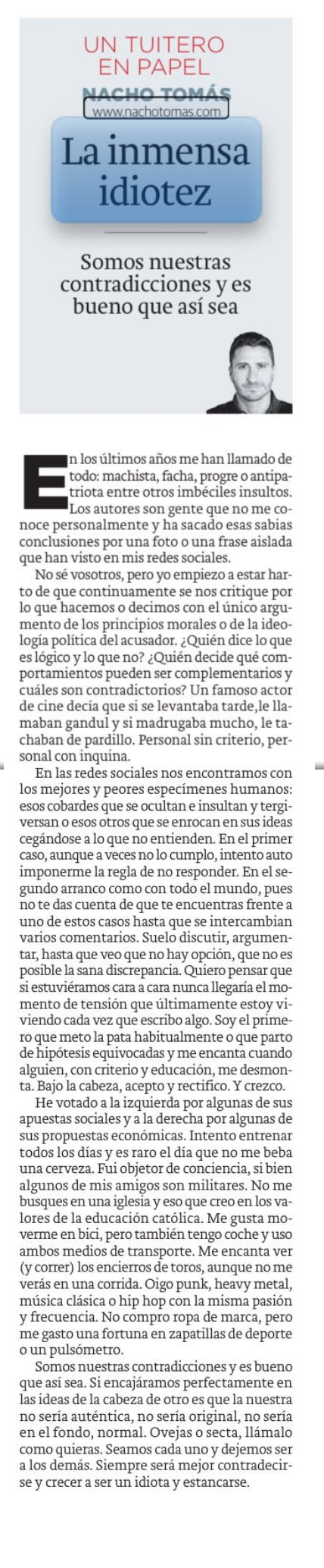 27.07.16 La inmensa idiotez - Nacho Tomás - Un tuitero en papel - La Verdad de Murcia