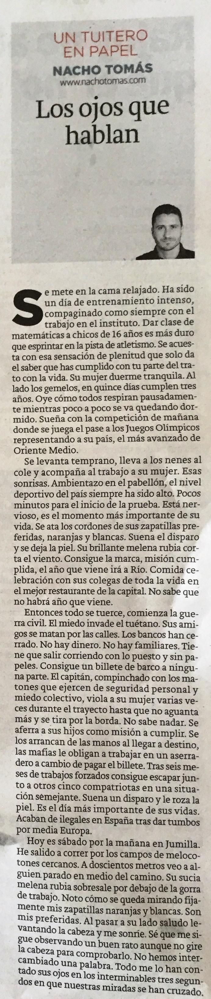 03.08.16 Los ojos que hablan - Nacho Tomás - Un tuitero en papel - La Verdad de Murcia