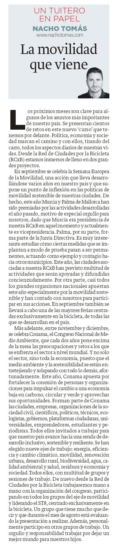 24.08.16 La movilidad que viene - Nacho Tomás - Un tuitero en papel - La Verdad de Murcia