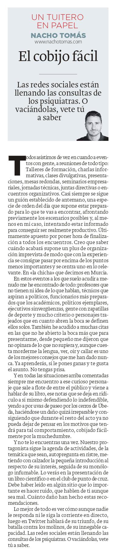07.09.16 El cobijo fácil - Nacho Tomás - Un tuitero en papel - La Verdad de Murcia
